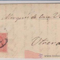 Sellos: CARTA DE SEVILLA A UTRERA DE 9 MARZO 1864.FRANQUEADO CON SELLO 64,MATASELLO RUEDA DE CARRETA Y -. Lote 28800292
