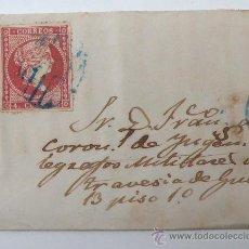 Sellos: CARTA CON SELLO DE 4 CUARTOS ISABEL II, . TIMBRE REVERSO DE BARCELONA. Lote 28953113
