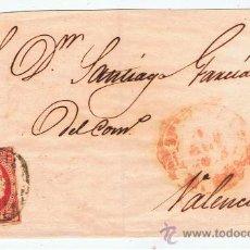 Sellos: ENVUELTA CIRCULADA A VALENCIA CON ISABEL II 1853 EDIFIL 17. Lote 29338157
