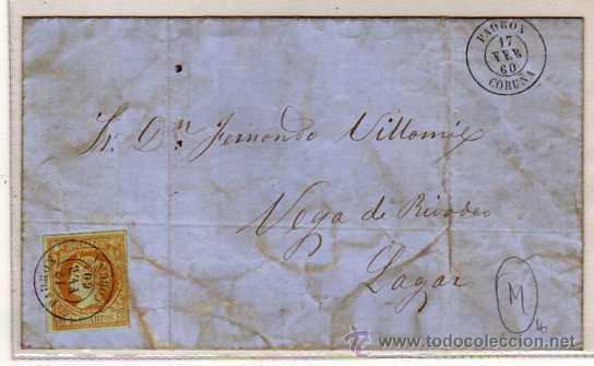 CARTA MATASELLO PADRON. 17 FEBRERO 1860. ISABEL II. (Sellos - España - Isabel II de 1.850 a 1.869 - Usados)