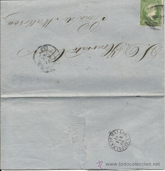 CARTA DE 1860 DE CUBA A PALMA DE MALLORCA CON SELLO 1 REAL DE PLATA (Sellos - España - Isabel II de 1.850 a 1.869 - Cartas)