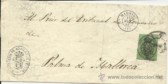 MAGNIFICO FRONTAL DE 1864 CON SELLOS DE ESCUDO DE ESPAÑA Y MINISTERIO DE GRACIA Y JUSTICIA (Sellos - España - Isabel II de 1.850 a 1.869 - Cartas)