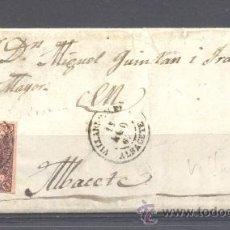 Sellos: 1863.- VILLARROBLEDO (ALBACETE) A ALBACETE. Lote 31667372