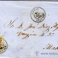Briefmarken - Cáceres. Isabel II. Carta via Madrid. 25 junio 1860. Matasello en reverso. - 32208316