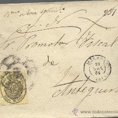 Sellos: CARTA CON SELLO DE 1/2 ONZA DE 1855 Y MATASELLOS DE 1864. Lote 32216681