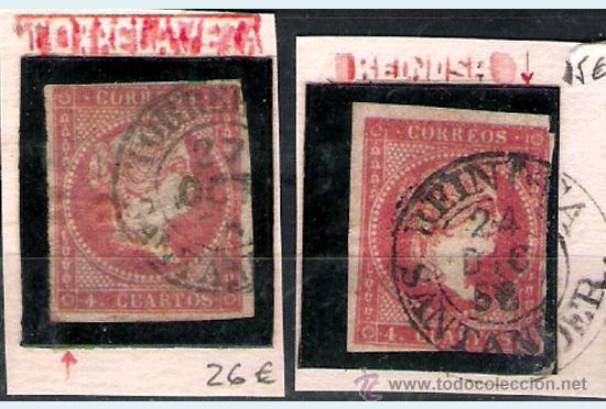 ISABEL II - EMISION 1856 - 4 CU. (TIPO II) FECHADORES TIPO I DE REINOSA Y TORRELAVEGA EDIFIL Nº 48 A (Sellos - España - Isabel II de 1.850 a 1.869 - Usados)
