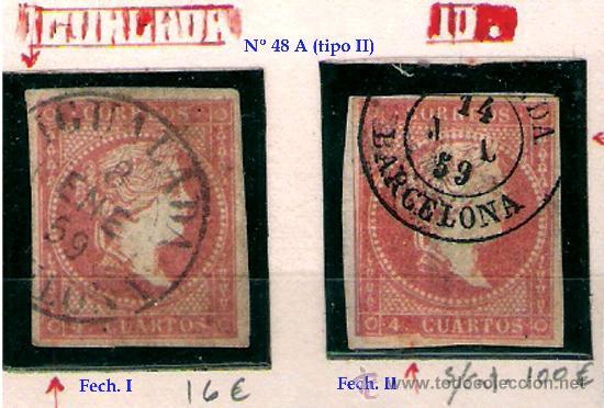 ISABEL II - EMISION 1856 - 4 CU. (TIPO II) FECHADORES TIPO I Y II DE IGUALADA. EDIFIL Nº 48 A (Sellos - España - Isabel II de 1.850 a 1.869 - Usados)