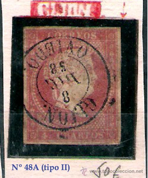 ISABEL II - EMISION 1856 - 4 CU.(TIPO II) FECHADOR TIPO II DE GIJON. EDIFIL Nº 48 A (Sellos - España - Isabel II de 1.850 a 1.869 - Usados)