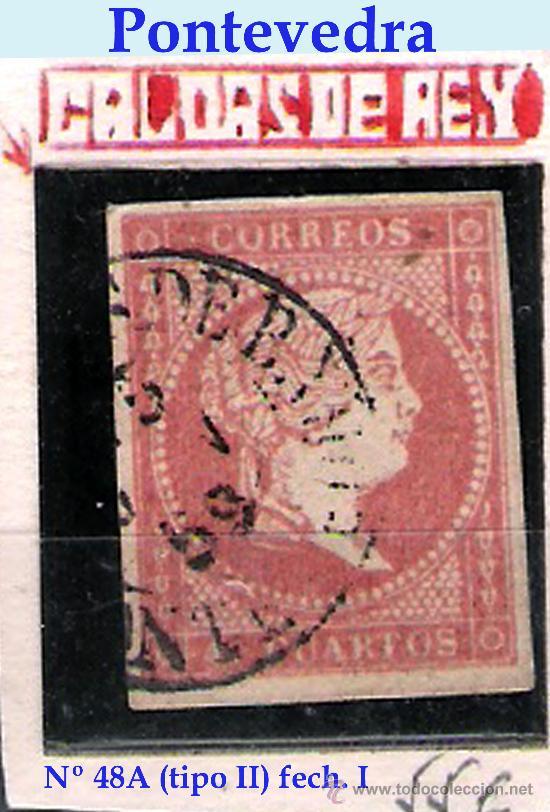 ISABEL II - EMISION 1856 - 4 CU.(TIPO II) FECHADOR TIPO II DE CALDAS DE REY (PONTEVEDRA) EDIFIL 48 A (Sellos - España - Isabel II de 1.850 a 1.869 - Usados)
