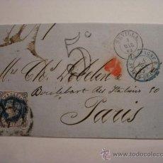 Sellos: RARO FRONTAL ISABEL II 12 CUARTOS - FECHADOR SEVILLA Y SAN JUAN DE LUZ REEXPEDIDA 5 C Nº 59 EDIFIL. Lote 32444864