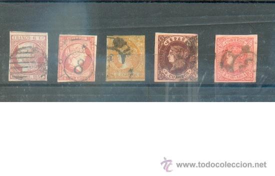 5 CLÁSICOS SIN DENTAR. NÚMEROS 12, 48, 52, 58 Y 64 - VALOR CATÁLOGO 7 EUR (Sellos - España - Isabel II de 1.850 a 1.869 - Usados)