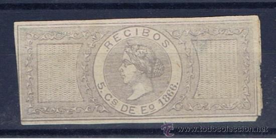ISABEL II. RECIBOS. 5 CTS. DE ESCUDO. 1866 NUEVO(*) (Sellos - España - Isabel II de 1.850 a 1.869 - Nuevos)