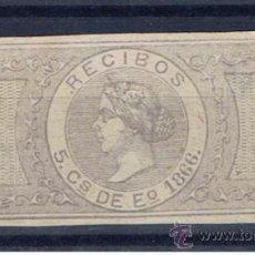 Sellos: ISABEL II. RECIBOS. 5 CTS. DE ESCUDO. 1866 NUEVO(*). Lote 33327825