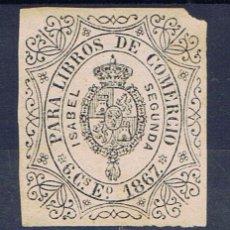 Sellos: ISABEL II NUEVO (*) 1867 SELLO 6 CTS PARA LIBROS DE COMERCIO. Lote 33380896