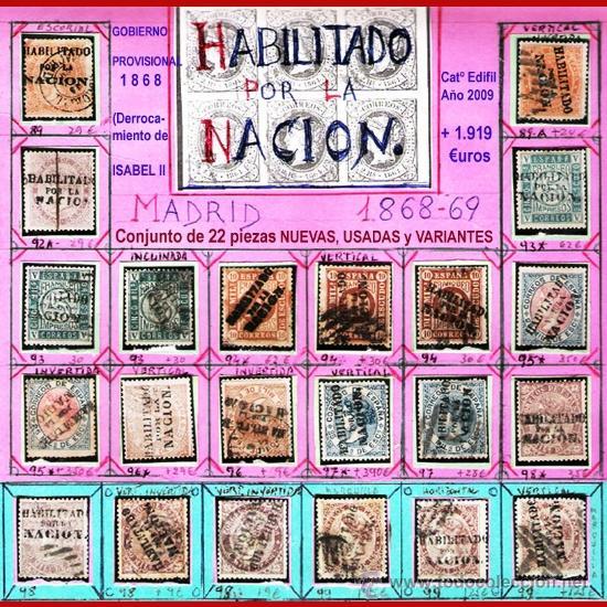 1868. GBNO. PROVISIONAL -HAB. POR LA NACION-19 SELLOS,NUEVOS,USADOS +VARIANTES DE MADRID.CAT.+1800 € (Sellos - España - Isabel II de 1.850 a 1.869 - Usados)