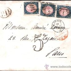 Sellos: 1865.- TRIPLE FRANQUEO DEL 12 CU. EN CARTA DE MADRID A PARÍS, PARRILLA, FECHADOR,TRÁNSITO Y LLEGADA.. Lote 35301859