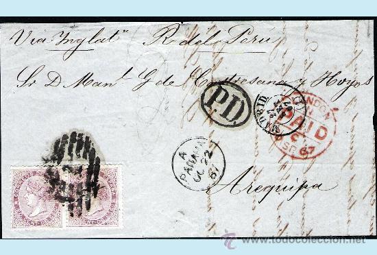 1867. FRONTAL CON PAREJA DEL 20 CTS. DE MADRID A AREQUIPA CON P.D. Y TRANSITOS, LONDON Y PANAMA. (Sellos - España - Isabel II de 1.850 a 1.869 - Cartas)