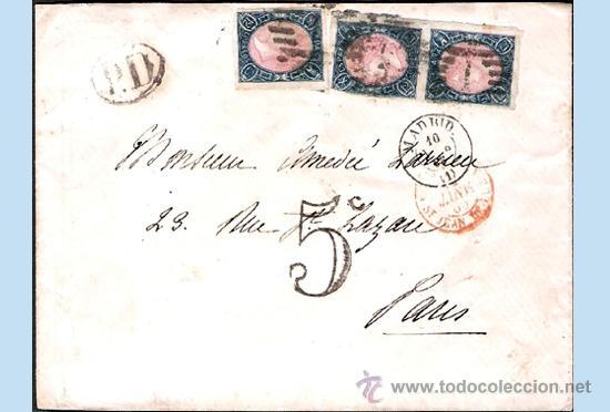 1865.- TRIPLE FRANQUEO DEL 12 CU. EN CARTA DE MADRID A PARÍS, PARRILLA, FECHADOR,TRÁNSITO Y LLEGADA (Sellos - España - Isabel II de 1.850 a 1.869 - Cartas)