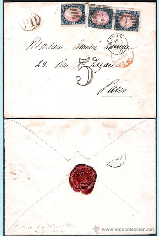 Sellos: 1865.- TRIPLE FRANQUEO DEL 12 CU. EN CARTA DE MADRID A PARÍS, PARRILLA, FECHADOR,TRÁNSITO Y LLEGADA - Foto 2 - 35632217