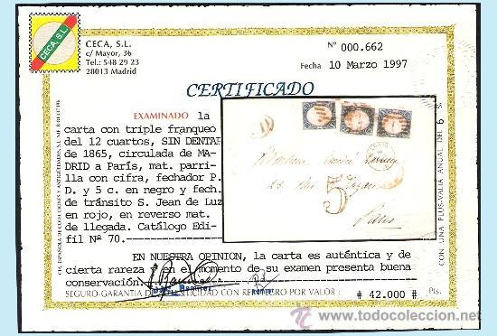 Sellos: 1865.- TRIPLE FRANQUEO DEL 12 CU. EN CARTA DE MADRID A PARÍS, PARRILLA, FECHADOR,TRÁNSITO Y LLEGADA - Foto 3 - 35632217