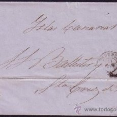 Sellos: ESPAÑA.(CAT.52)1861.CARTA D VALENCIA A TENERIFE.4 CTOS.LLEGADA AL DORSO.MUY RARA A CANARIAS. BONITA.. Lote 26581617
