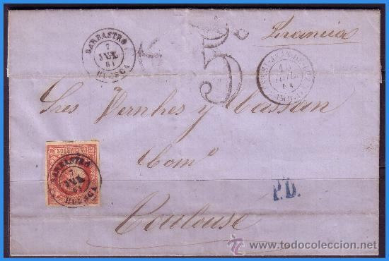 1860 ISABEL II, BARBASTRO (HUESCA) A TOULOUSE (FRANCIA) CARTA COMPLETA EDIFIL Nº 53 (O) LUJO (Sellos - España - Isabel II de 1.850 a 1.869 - Cartas)