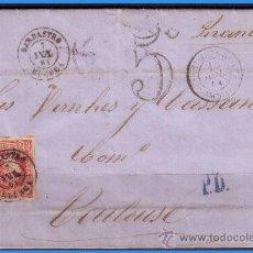 Sellos: 1860 ISABEL II, BARBASTRO (HUESCA) A TOULOUSE (FRANCIA) CARTA COMPLETA EDIFIL Nº 53 (O) LUJO. Lote 36172870
