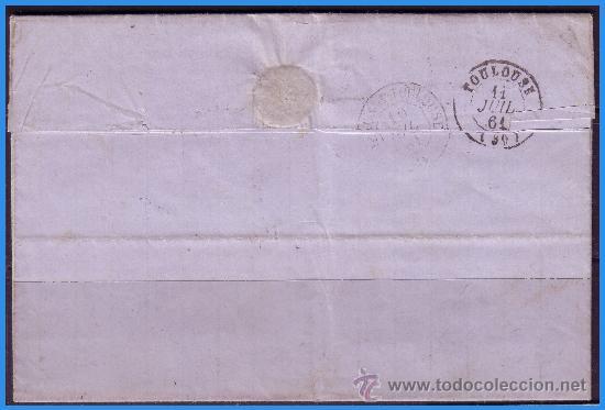 Sellos: 1860 Isabel II, Barbastro (Huesca) a Toulouse (Francia) Carta completa EDIFIL nº 53 (o) LUJO - Foto 2 - 36172870