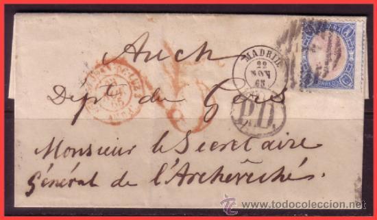 1865 ISABEL II, INTERESANTE FRANQUEO EDIFIL Nº 70 EN CUBIERTA DE MADRID A AUCH (FRANCIA) (Sellos - España - Isabel II de 1.850 a 1.869 - Cartas)