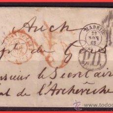 Sellos: 1865 ISABEL II, INTERESANTE FRANQUEO EDIFIL Nº 70 EN CUBIERTA DE MADRID A AUCH (FRANCIA). Lote 36486165
