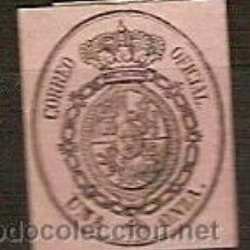 Sellos: SELLO ESPAÑA REINADO ISABEL II EDIFIL 36 AÑO 1855 ESCUDO DE ESPAÑA NUEVO FIJASELLOS . Lote 37431754