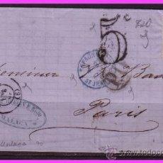 Sellos: CARTA MÁLAGA A PARÍS, 23 ENERO 1869, ISABEL II, EDIFIL Nº 89A (O). Lote 38028375
