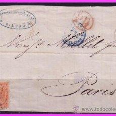 Sellos: FRONTAL BILBAO A PARÍS, 19 NOVIEMBRE 1869 ISABEL II, EDIFIL Nº 100A (O). Lote 38037459