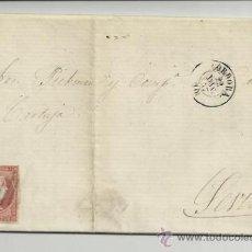 Sellos: 1857 ISABEL II PARRILLA AZUL ENVUELTA COMPLETA. Lote 38038222