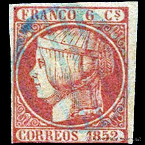 """1852.- 6 CUARTOS. VARIEDAD POR DEFECTO DE PLANCHA """"SIN PUNTO ENTRE CORREOS Y 1852"""" (Sellos - España - Isabel II de 1.850 a 1.869 - Usados)"""