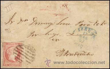1857.- SOBRESCRITO CON 4 CU. TIPO III, PARRILLA NEGRA Y FECHADOR AZUL TIPO I DE FERROL A MONDOÑEDO. (Sellos - España - Isabel II de 1.850 a 1.869 - Cartas)