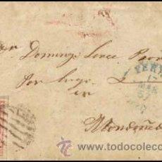 Sellos: 1857.- SOBRESCRITO CON 4 CU. TIPO III, PARRILLA NEGRA Y FECHADOR AZUL TIPO I DE FERROL A MONDOÑEDO.. Lote 38176686