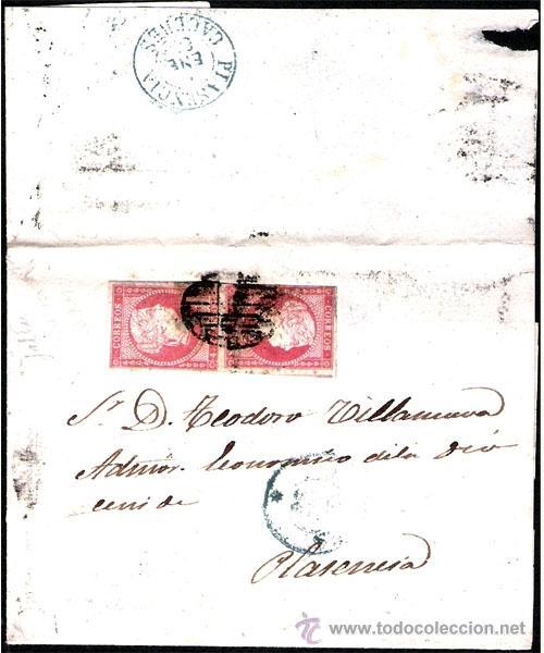 1856.- ENVUELTA CON PAREJA Y FECH. AZUL ACOMPAÑANDO DE CACERES A PLASENCIA. REV. FECH. LLEGADA AZUL (Sellos - España - Isabel II de 1.850 a 1.869 - Cartas)