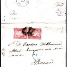 Sellos: 1856.- ENVUELTA CON PAREJA Y FECH. AZUL ACOMPAÑANDO DE CACERES A PLASENCIA. REV. FECH. LLEGADA AZUL. Lote 38178114