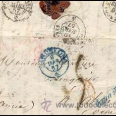 Sellos: 1857.- SOBRESCRITO SIN SELLO, FECHADOR DE BARCELONA A ALENGÓN (FRANCIA) Y MARCA ESPAÑA EN AZUL.. Lote 38178184