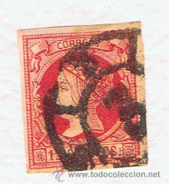 ISABEL II RUEDA CARRETA 3 CADIZ 1860 SOBRE EDIFIL 56 (Sellos - España - Isabel II de 1.850 a 1.869 - Usados)