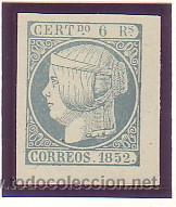 016- ISABEL II. 6 REALES AZUL VERDOSO.NUEVO FALSO FILATELICO. CAT.- 4750 €. (Sellos - España - Isabel II de 1.850 a 1.869 - Usados)