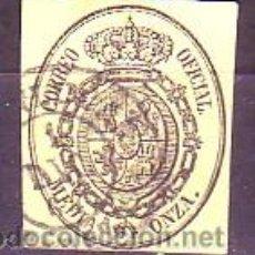 Timbres: ESPAÑA 35 - ESCUDO ESPAÑA 1855. 1/2 O. NEGRO AMARILLO. USADO LUJO.. Lote 38750830