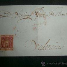 Sellos: ENVUELTA CIRCULADA 1854 A VALENCIA CON FECHADOR BAEZA DE LLEGADA . Lote 39124785