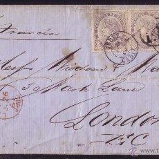 Sellos: ESPAÑA.(CAT.92(3)).1867.CARTA DE JEREZ A LONDRES.20 CTS. 3 PORTES. MAT.*JEREZ/CÁDIZ*. MUY RARA.LUJO.. Lote 25830424