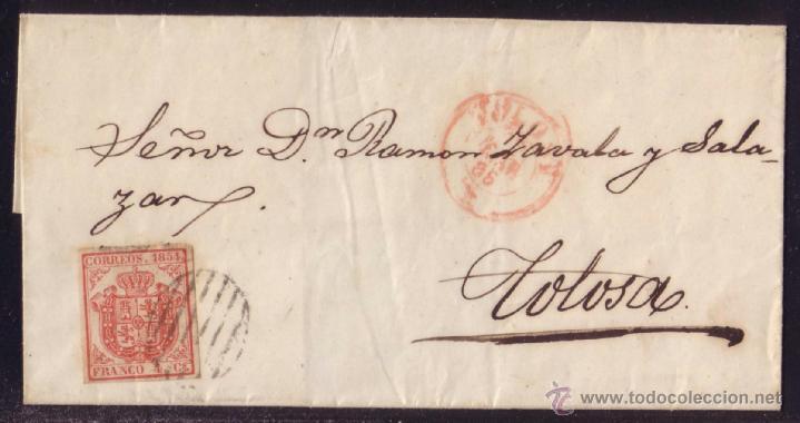 ESPAÑA.(CAT.33).1855.CARTA DE CORREO INTERIOR DE TOLOSA.FRANQ. 4 CTOS.DOBLE PORTE.RARÍSIMO FRANQUEO (Sellos - España - Isabel II de 1.850 a 1.869 - Cartas)