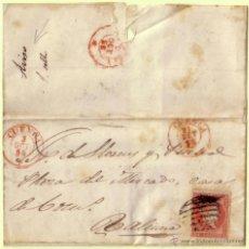 Sellos: ESPAÑA. (CAT. 48). 1856. CARTA DE CUENCA A PALENCIA. *FRANQUEO RECLAMADO* CON 4 CTOS. RARÍSIMO.. Lote 27283225
