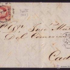 Sellos: (CAT.48B-T.V).1859. CARTA DE MADRID A CÁDIZ.4 C. TIPO V (UN SELLO POR HOJA DE 200 SELLOS). RARÍSIMA.. Lote 27306072