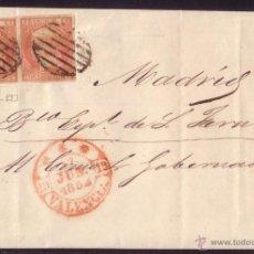 Sellos: ESPAÑA.(CAT.12P(2)).1852. CARTA D VALENCIA/MADRID. PAREJA 6 C. VARIEDAD PAPEL. MAGNÍFICA. MUY RARA.. Lote 27165721