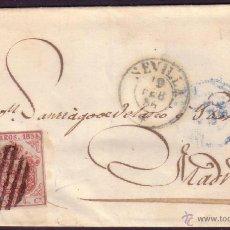 Sellos: ESPAÑA. (CAT. 33/GRAUS 35-IV). 1855. CARTA DE SEVILLA A MADRID. 4 CTOS. FALSO POSTAL TIPO IV. RRR.. Lote 38264045